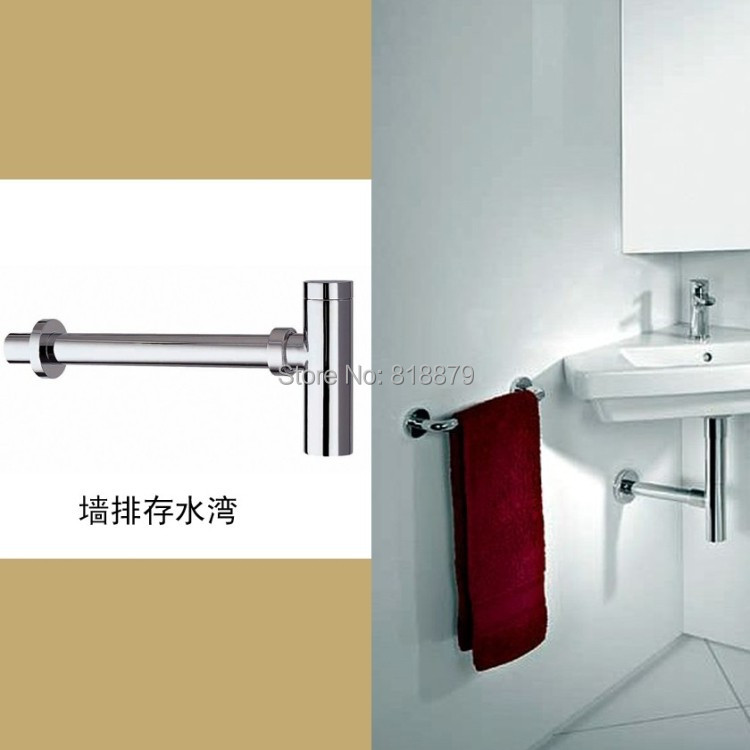 ФОТО Bathroom cabinet basin brass round anti-odor drain pipe siphon