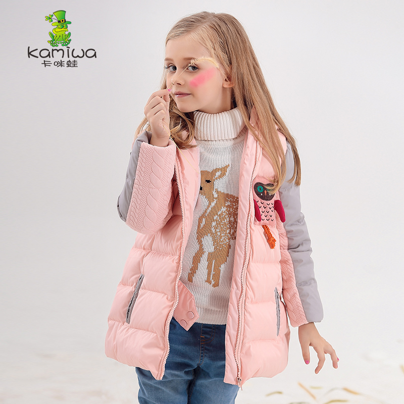 KAMIWA 2017 Owl Applique Girls Winter Coats And Jackets Kids Outwear Warm Down Girls Clothes Parkas Children Baby Girls Clothing