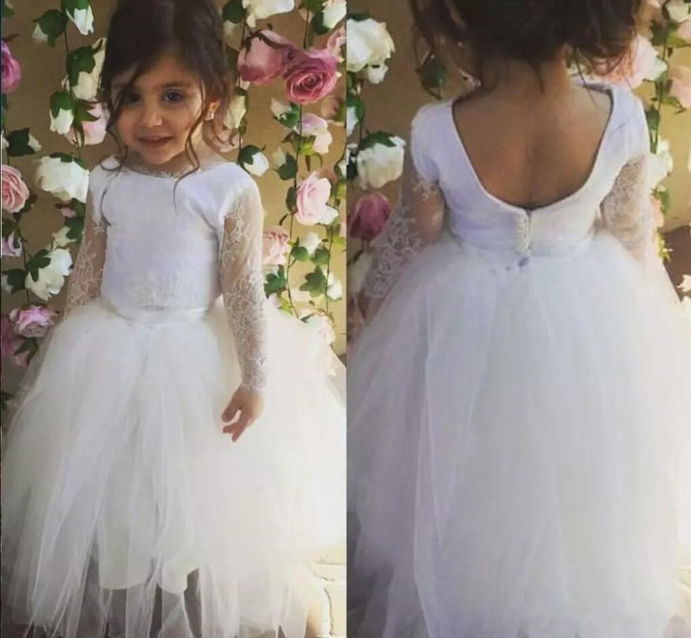 2018 White Flower Girls Dresses Lace Tulle Jewel Neck Backless Zipper First Communion Dress Pageant Dress sexy style jewel neck backless solid color long sleeve dress for women