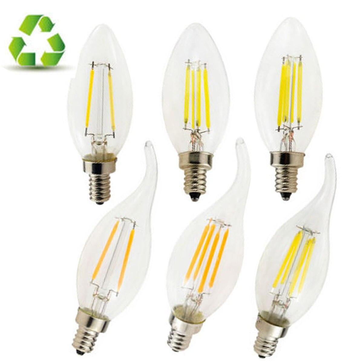 Lampada E12 Led Vela: 10pcs/lot E14 E12 Base 110V 220V Candle & Flame LED Bulb