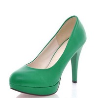 Han Edition Of The New Large Shoes Green Round Head Wedding Shoes Waterproof Taiwan Professional Single