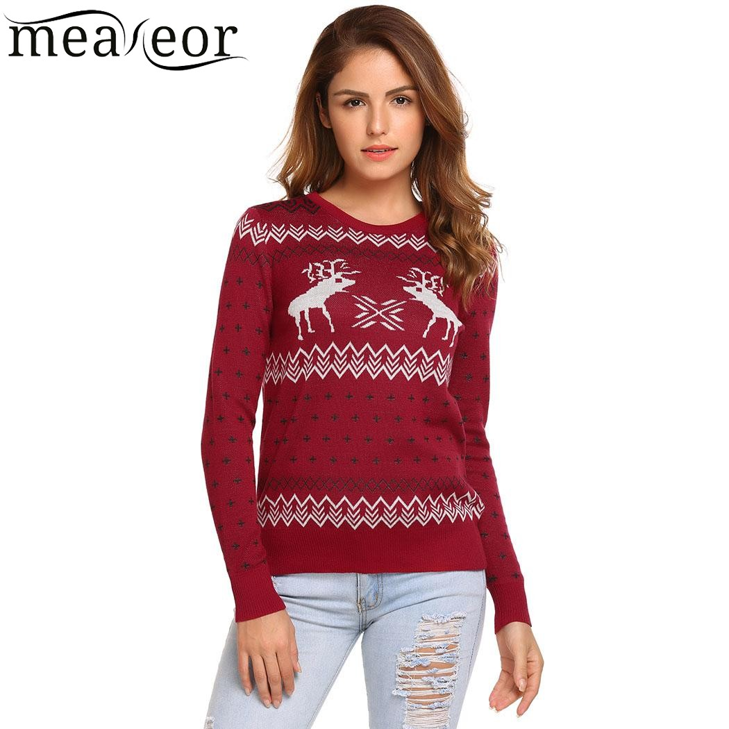Meaneor Women Sweaters Christmas Pullovers 2017 Autumn Winter Long Sleeve O Neck Reindeer Snowman Slim Warm Sweaters Femme Tops