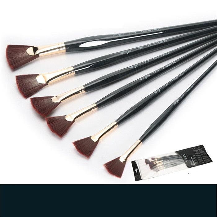 6pcs/set Fan-shape Oil Gouache Paint Brush Nylon Hair Oil Drawing Brush Pen Art School Supplies Stationery for Students