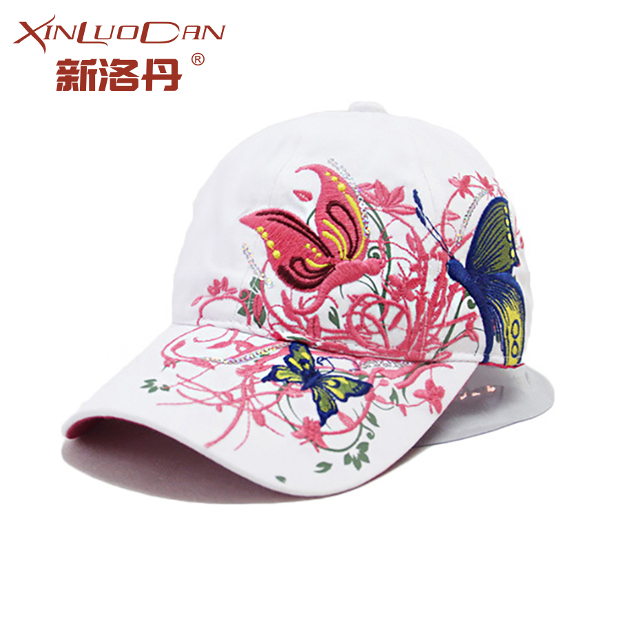 2017 Butterfly Flowers Print Summer Punk Baseball Caps Women Girls Summer Sun Mesh Caps Snapback Hat WH062