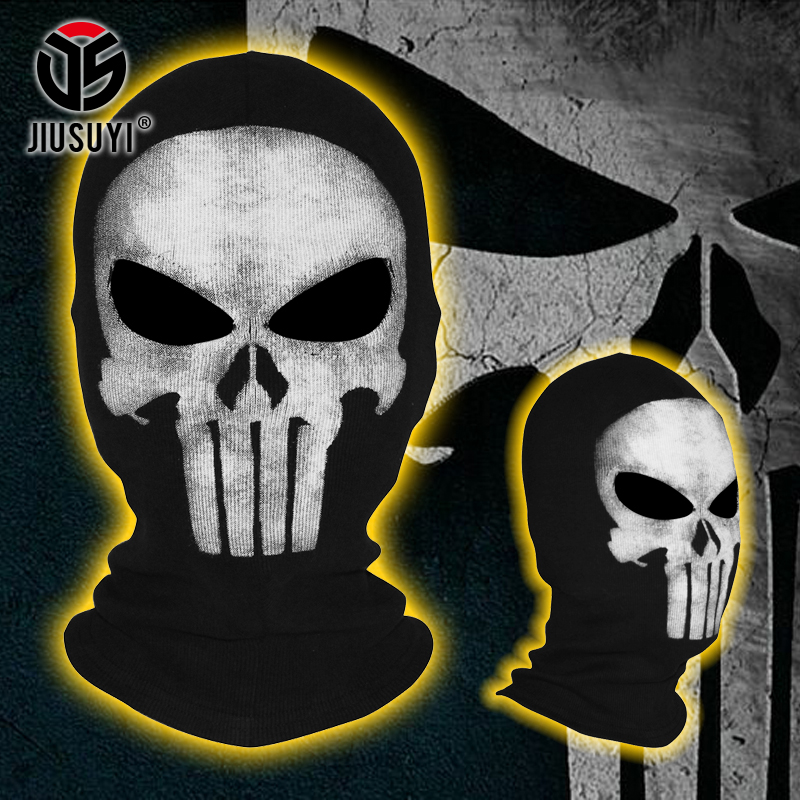 Black Punisher Mask Ghost Cosplay Costume Balaclava Paintball Game Tactical Airsoft Ghost Skull Full Face Mask Free Shipping Men's Skullies & Beanies