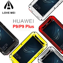 Aşk Mei Yaşam Su Geçirmez Darbeye Dayanıklı Kılıf Için Huawei P9 P9 Artı Durumda Pouzdro Metal Alüminyum 360 Tam Vücut Kapak kabuk