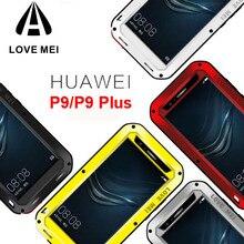 Miłość Mei życie wodoodporna, odporna na wstrząsy etui na Huawei P9 P9 Plus przypadku Pouzdro Metal aluminium 360 pokrywa całe ciało powłoki