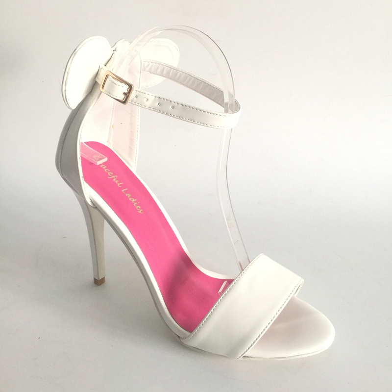 White Pu Wedding Shoes Real Photos Summer Shoes Sandals 12Cm High Heels Round Ears Open Toe Bridal Sandals Stilettos Heels emphasis has been placed on the appeal of shoes pu sandals 15 cm super stilettos model stage photos of shoes