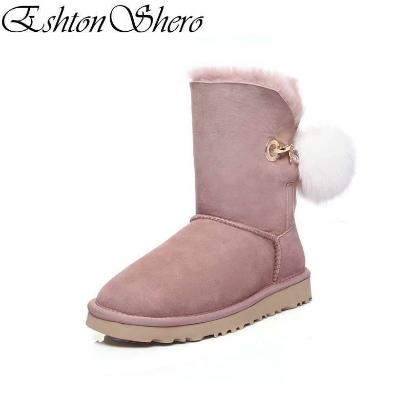 EshtonShero Shoes Women Ankle Snow Boots Flat Heel Winter Cow Suede Fur-lined Plush Pink Warm Ladies Casual Boots Size 34-42EshtonShero Shoes Women Ankle Snow Boots Flat Heel Winter Cow Suede Fur-lined Plush Pink Warm Ladies Casual Boots Size 34-42