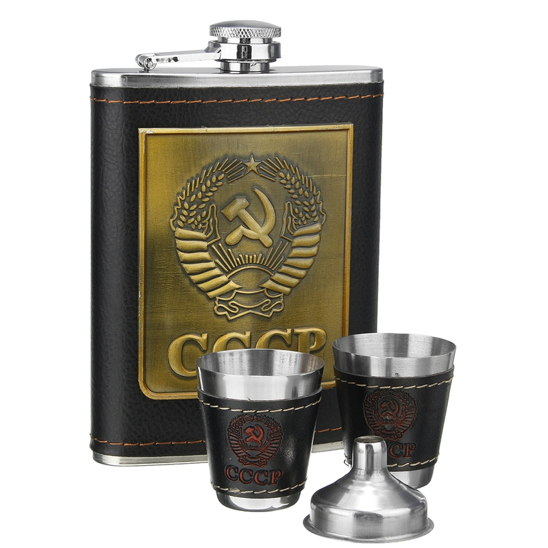 Engraving Alcohol Flagon 1 Funnel 2 Cups 8oz Stainless Steel Hip Flasks Set Faux Leather Chip