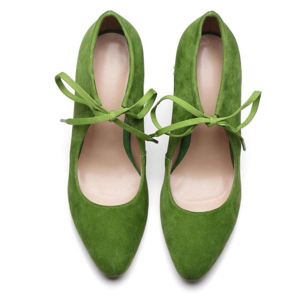 Tacón Primavera Zapatos Moda green De Mujer Grueso Otoño 2018 Lace Up Toe Mujeres Punta Cuero Gamuza Smirnova Bombas Negro Altos Tacones wqI5vERx