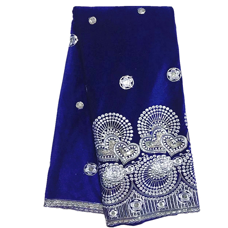 royal blue Velvet Lace Fabric With Sequin soft 2019 latest african Velvet Lace for wedding dress
