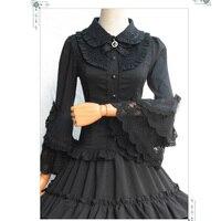 Flare manga vintage gothic lolita negro de algodón y encaje blusa mujeres sexy burlesque del corsé steampunk accesorios de vestir