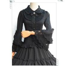 Lolita Black Cotton Lace Flare Sleeve Vintage Gothic Blouse Shirt Women Sexy Corset Burlesque Steampunk Clothing