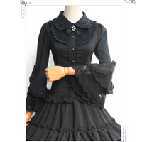 Lolita Black Cotton & Lace Flare Sleeve Vintage Gothic Blouse Shirt Women Sexy Corset Burlesque Steampunk Clothing Accessories