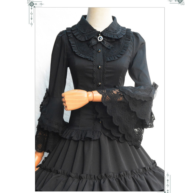 Lolita Black Cotton Lace Flare Sleeve Vintage Gothic Blouse Shirt font b Women b font Sexy