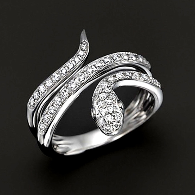 Top 0.45 carats de diamants bague serpent femmes bijoux de mariage 18  NF56