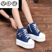 12cm High Heels Shoes Casual Canvas Shoes