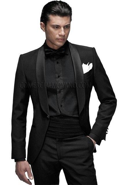 3460a617d5c 2017 classique hommes costumes garçons d honneur châle Satin revers marié  Tuxedos noir mariage meilleur