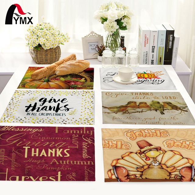 Thanksgiving Day Table Mat For Wedding Set Bowl Dining Mats Kids Table Set Table Napkin Kitchen Decoration Table Pads