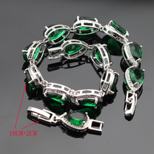 Silver Color Jewelry Sets Green Stones White CZ Bracelet Earrings Necklace Pendant Ring