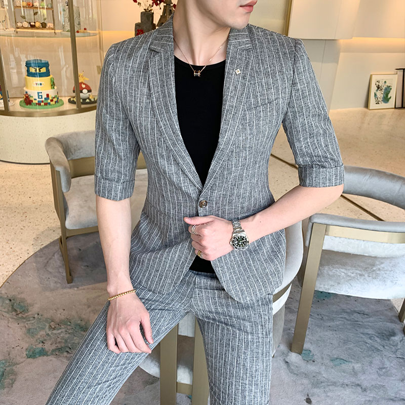 PADEGAO Men's Suits 2019 Summer Wedding Dress Business Formal Vintage Night Casual Tuxedo Plaid Slim Fit Breasted Men Set