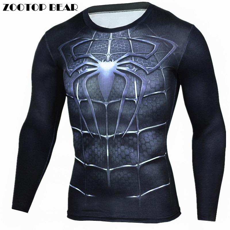 Spiderman T Shirts Men 3D Printed T-shirts Compression Fitness Camisetas 2017 Black Long Sleeve Tops Autumn Superman ZOOTOP BEAR guerre moderne lego