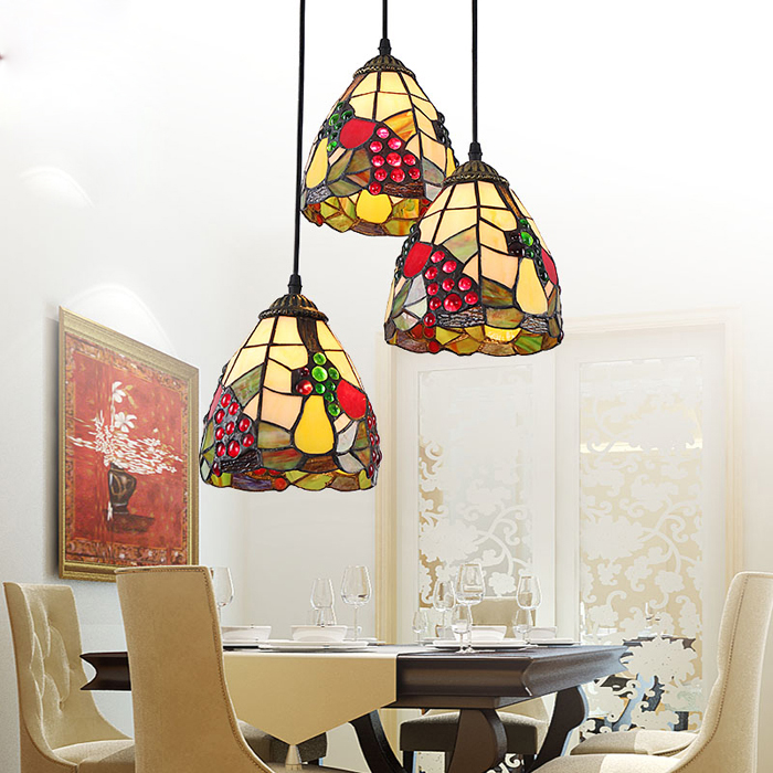 3pcsset tiffany chandelier european minimalist restaurant lights creative three stairs dining room bar - Tiffany Chandelier