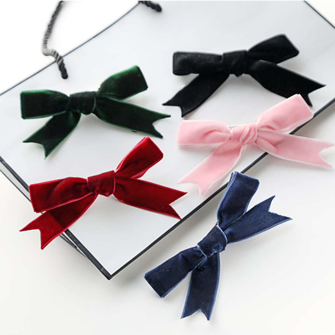 Hair Accessories Kids Velvet Hair Bows For Girls Solid Knot Hair Clips Baby Mini Hairpins Handmade Barrettes   Headwear
