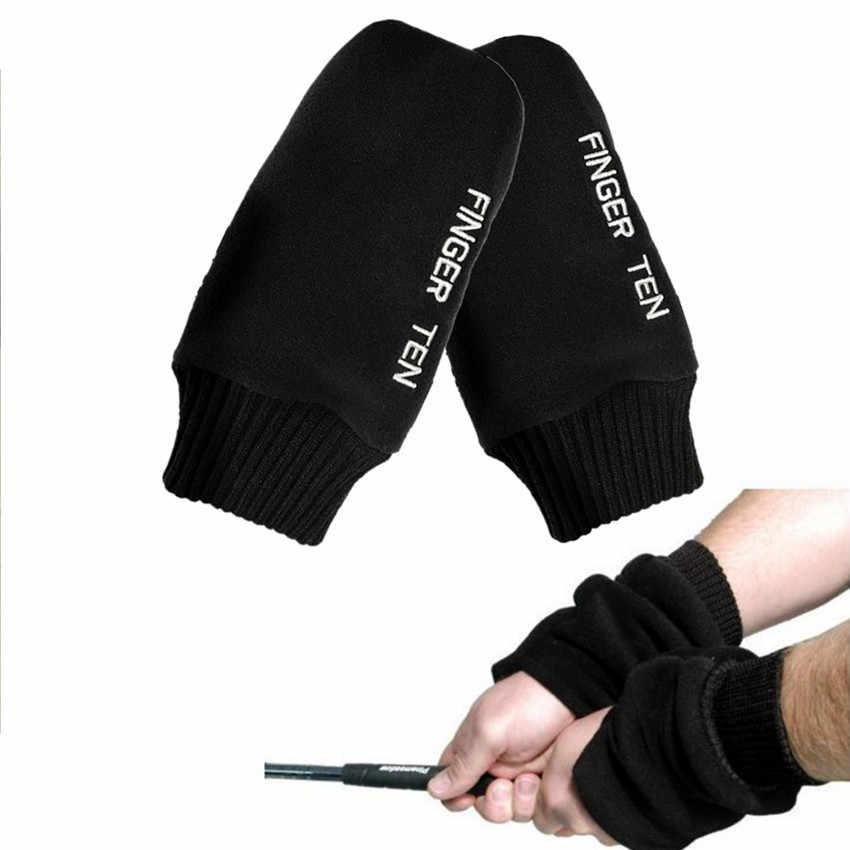 Перчатки для гольфа, рукавицы, перчатки-митенки, 1 пара, зимняя теплая ручка, черный цвет, обычный размер, перчатки, подходят для женщин и мужчин