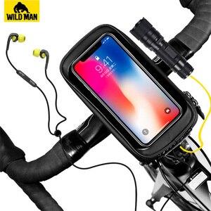 Image 2 - Универсальная Водонепроницаемая велосипедная сумка для телефона, держатель для телефона на руль, тачскрин, аксессуары для Bycicle