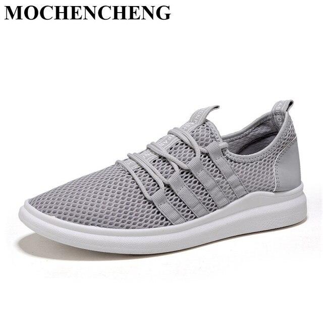 685bba9d Nuevos zapatos casuales hombres zapatillas verano malla transpirable hueco  de encaje zapatos planos luz suave diseño