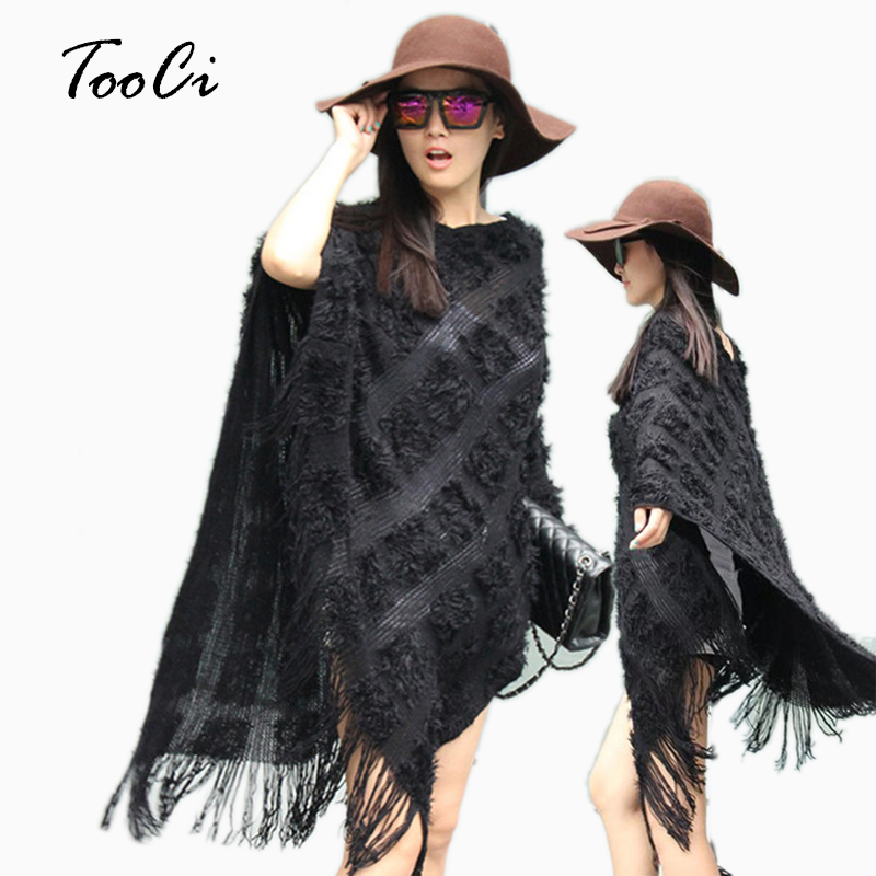 New Autumn Women Black Sweater Ladies  Pierced Tassel Poncho Sweater Long Knitted Pullovers  Women Knitted Coat