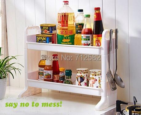 Attractive Double Layer Spice Rack Kitchen Shelf Bathroom Kitchen Organizer With 2  Hooks Easy Installation ...