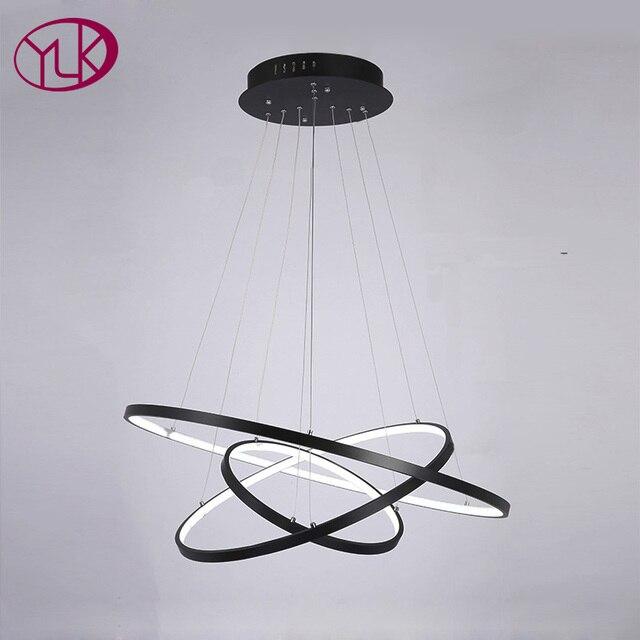 youlaike nero lampadario moderno led montaggio a filo di alluminio ... - Illuminazione Soggiorno E Sala Da Pranzo 2