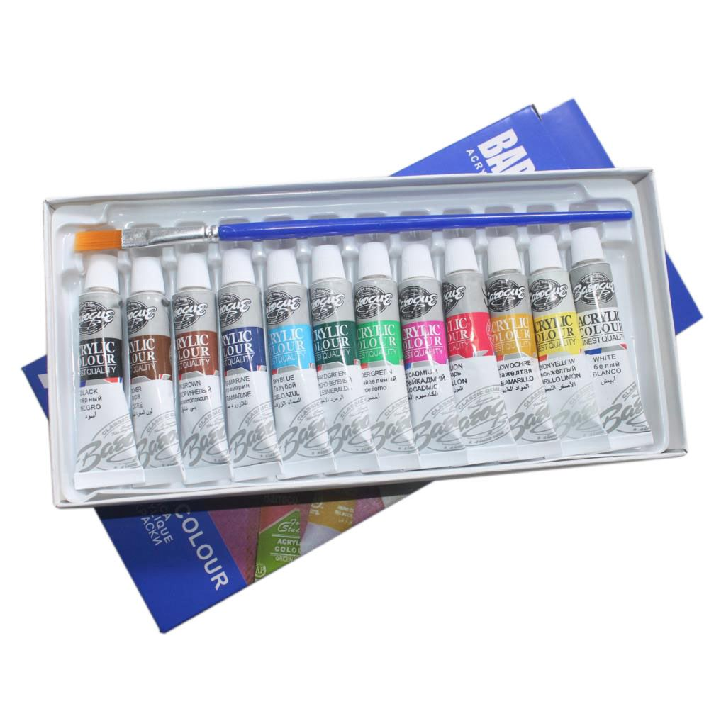 6 ML 12 Colors Professional Acrylic Paints Set Hand Painted Wall Painting Textile Paint Brightly Colored Art Supplies Free Bru 6 ml 12 colors professional acrylic paints set hand painted wall painting textile paint brightly colored art supplies free brush