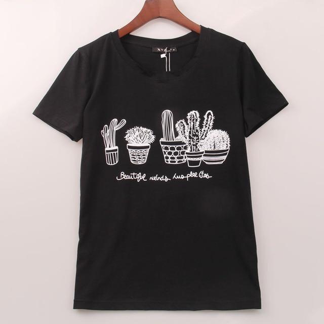 Лето 2016 Kawaii Футболка Женщин Кактус Печать T Shirt Женщины Топы Мода Горячие Продажи Футболка Femme Женщина Clothing