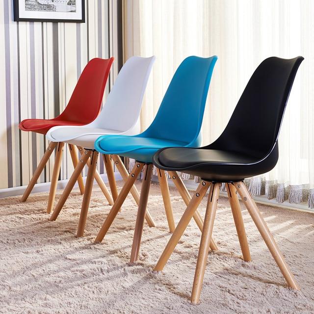 Muebles silla recreativa moderna, patas de madera maciza sillas diseño  plástico, comedor moda