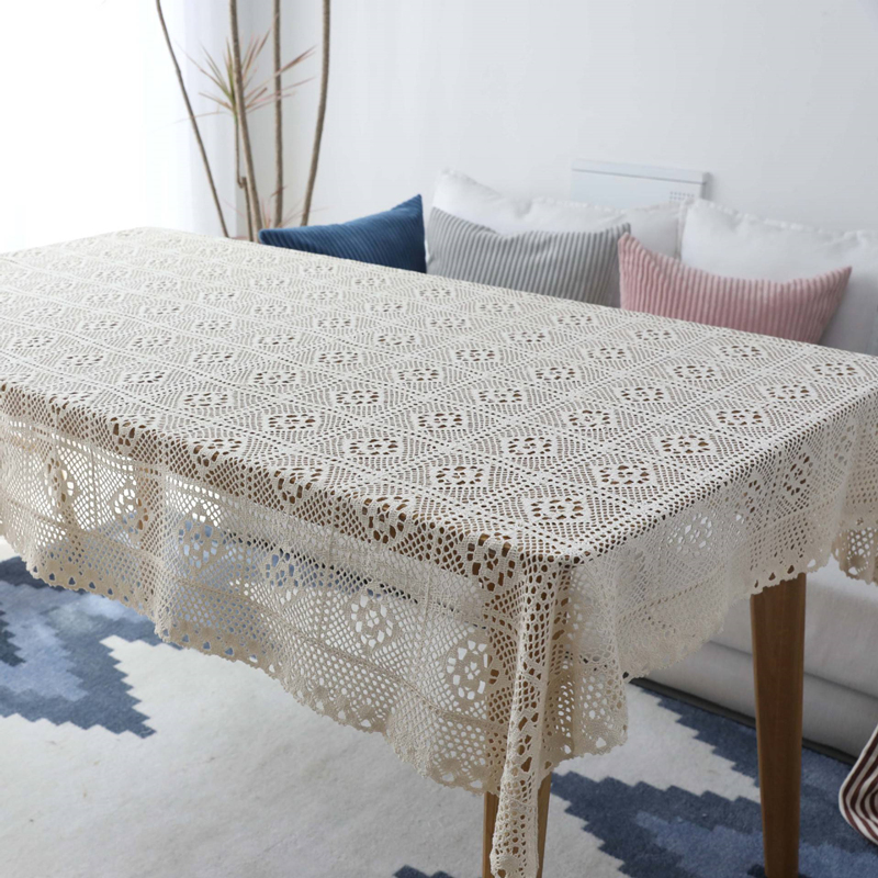 2019 Home Beige Crocheted Lace Table Cloth For Decoration Dinner Tea Piano Dustproof Table Cover 1pcs Quality Tablecloth 6 Sizes image