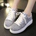 Primavera outono novo estilo de Bling Glitter mulheres Casual Shoes Lace up flats plataforma moda esportivos aumentar mulheres sapatos casuais ST777