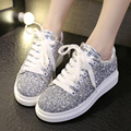 Spring Autumn New Style Bling Glitter Women Casual Shoes Lace-up fashion platform flats heighten sport women casual shoes ST777