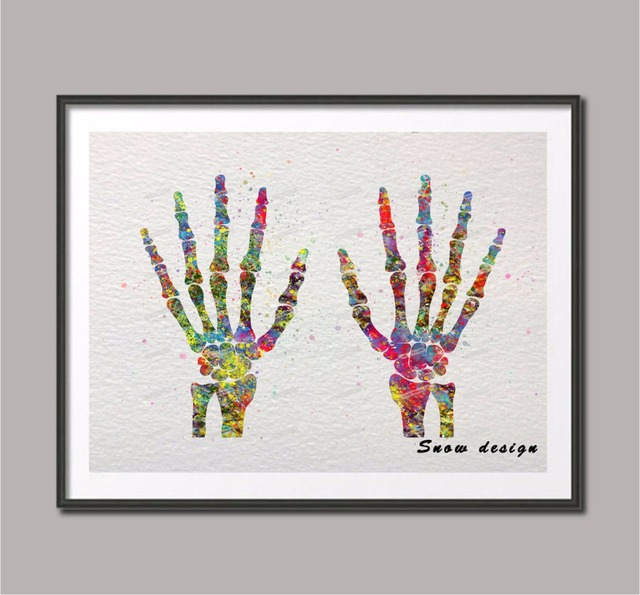 Original Watercolor Hand Bones Anatomy Wall Art Canvas Painting