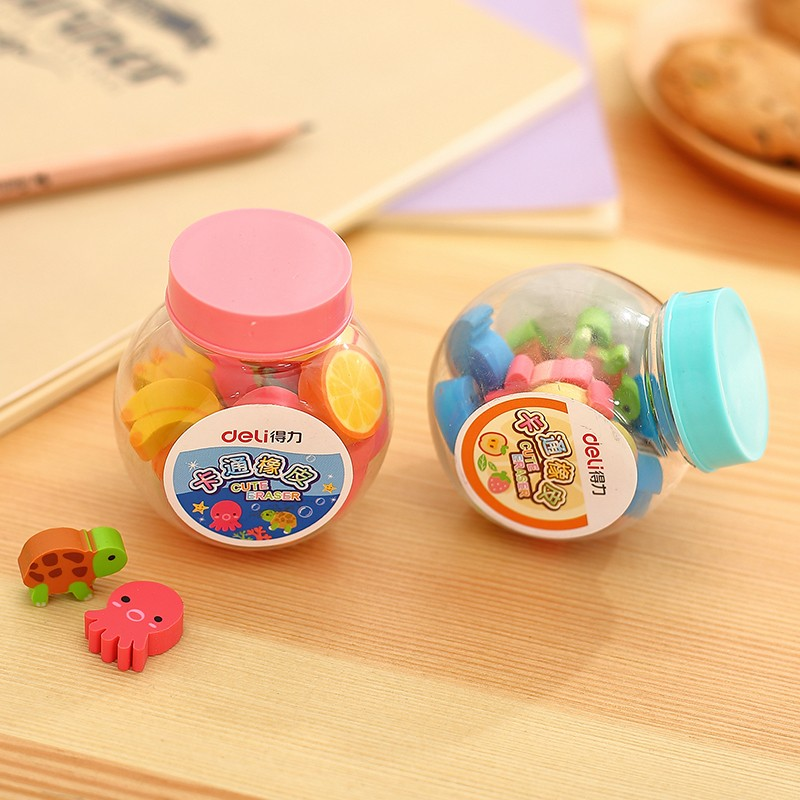 Deli 7533 Cartoon Mini Eraser Small Rubber Exquisite Small Stationery Bottled Fruit Fantastic Reaser