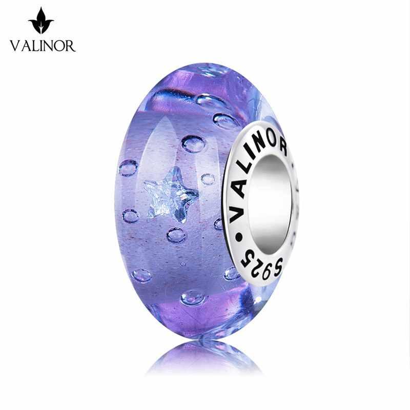 สีม่วงเคลือบ star shape zircon murano ลูกปัดแก้ว charms 925 เงินสร้อยข้อมือเครื่องประดับอินเทรนด์ VDLL029
