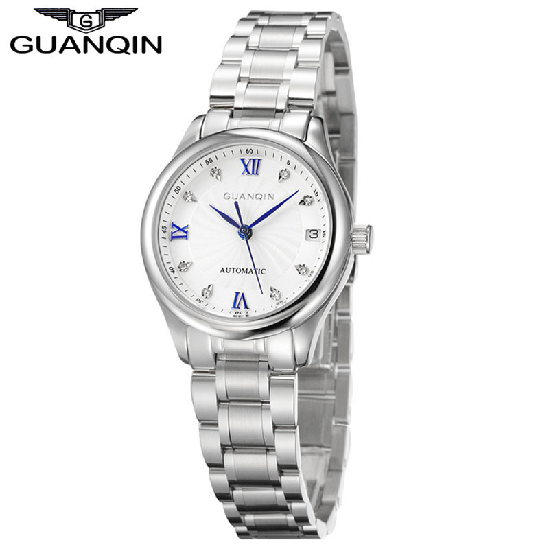 GUANQIN Watches Women Mechanical Watch Automatic Diamond Waterproof Watch Sapphire Lady Wristwatch Women Rhinestone Watches