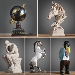 Silence Is Gold David Vintage Home Loft Decor Statues For Decoration Nordic Style Accessories Sculpture Garden Statue Resine