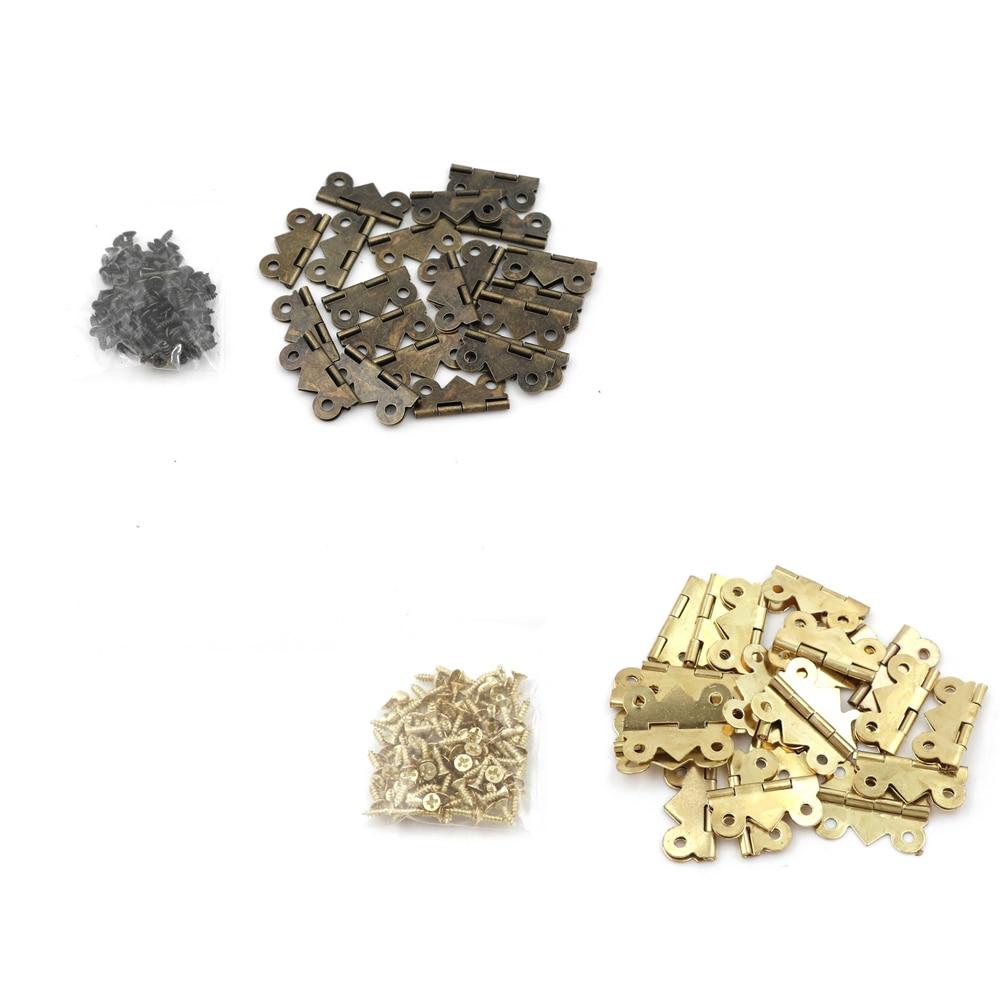 20Pcs 20*25mm Mini Butterfly Door Hinge Antique Bronze Cabinet Drawer Jewellery Box Decorative Hinges Furniture Hardware