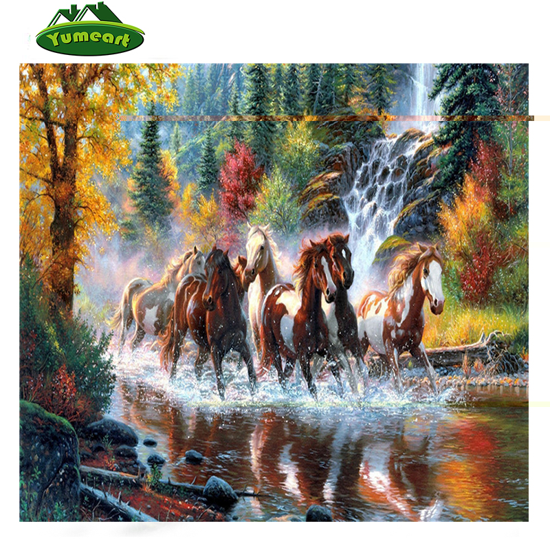 New 3D DIY Diamond Painting rhinestones set Embroidery resin craft red horse river paint Cross Stitch home decor Mosaic inlay