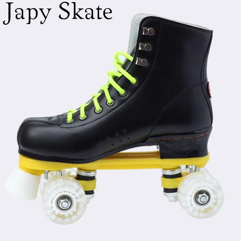 Japy skate pattini a rotelle double line skates nero con ruote pu bianco Unsex Modelli Adulti 4 Ruote Due linea Roller Skating Scarpe