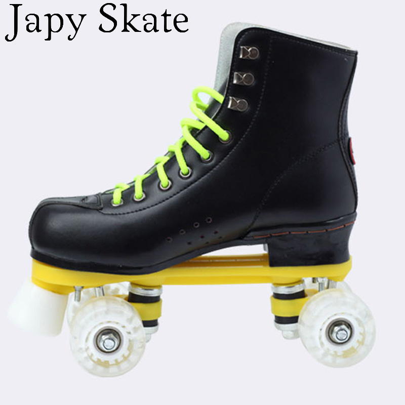 Jus japy Skate Patins à roulettes Double Ligne Patins Noir Avec PU Roues blanc Unsex Modèles Adulte 4 Roues Deux ligne Rouleau De Patinage Chaussures